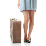 Caucasian woman legs with travel case Stock Photography