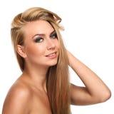 Caucasian woman with long beautiful hair Royalty Free Stock Image