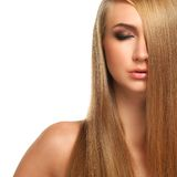 Caucasian woman with long beautiful hair Royalty Free Stock Photography