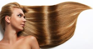 Caucasian woman with long beautiful hair Stock Photography