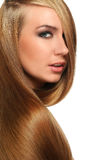 Caucasian woman with long beautiful hair Royalty Free Stock Images
