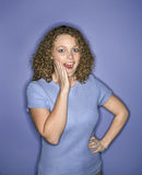 Caucasian woman looking surprised. Royalty Free Stock Images