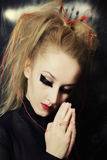 Caucasian woman with makeup in Gothic style Royalty Free Stock Image
