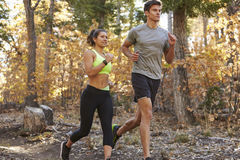 Caucasian woman and man running on a forest trail, close up Stock Images