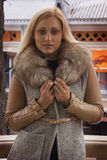 Caucasian woman in mink fur coat Stock Image