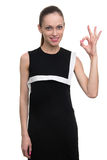 Caucasian woman with ok sign gesture Stock Image