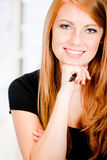 Caucasian Woman with Pen Royalty Free Stock Images