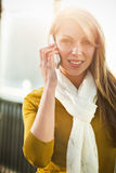Caucasian woman on the phone Stock Photo