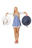 The caucasian woman in plaid blue dress and hat isolated on white Stock Image