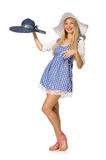 The caucasian woman in plaid blue dress and hat isolated on white Stock Photo