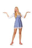 The caucasian woman in plaid blue dress isolated on white Royalty Free Stock Image