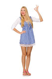 The caucasian woman in plaid blue dress isolated on white Royalty Free Stock Photo