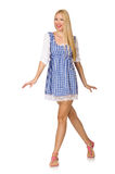 The caucasian woman in plaid blue dress isolated on white Royalty Free Stock Photography