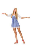 The caucasian woman in plaid blue dress isolated on white Stock Image