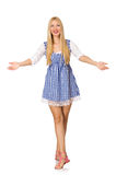The caucasian woman in plaid blue dress isolated on white Stock Photo