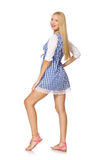 Caucasian woman in plaid blue dress isolated on white Royalty Free Stock Images