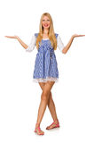 Caucasian woman in plaid blue dress isolated on white Royalty Free Stock Photos