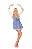 The caucasian woman in plaid blue dress  on white Stock Photography