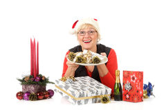 Caucasian woman, plate with traditional cake Stock Photo