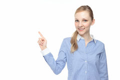 Caucasian woman pointing Royalty Free Stock Photos