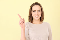 Caucasian woman pointing with space for copy Stock Images