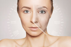 Caucasian woman portrait with clock face- aging problems Royalty Free Stock Photo