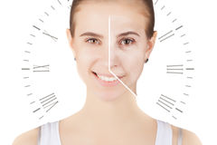 Caucasian woman portrait with clock face- aging problems. Woman portrait with clock face- aging problems stock photo