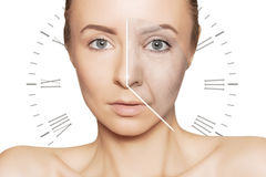 Free Caucasian Woman Portrait With Clock Face- Aging Problems Royalty Free Stock Image - 93587866