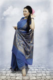 Caucasian woman posing in blue sari Royalty Free Stock Photo