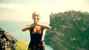 Caucasian woman practicing yoga stock video