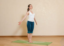 Caucasian woman is practicing yoga Stock Photography