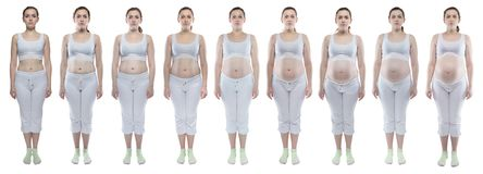 Young woman during pregnancy with bare belly. Caucasian woman during pregnancy with bare belly on white background royalty free stock photography