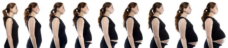 Caucasian woman during pregnancy in jeans. On white background stock image