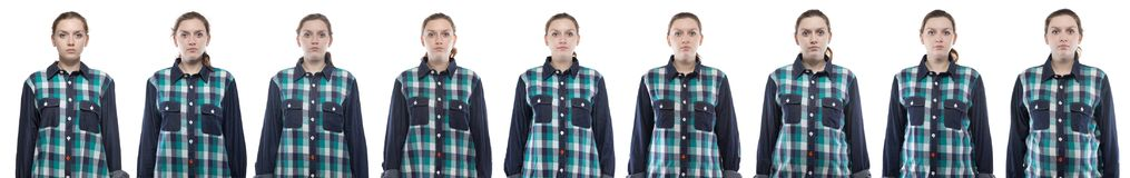 Caucasian woman during pregnancy in plaid shirt. On white background stock photos