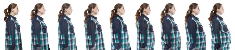 Blond woman during pregnancy in plaid shirt. Caucasian woman during pregnancy in plaid shirt on white background stock images