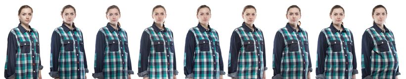 Photo woman during pregnancy in plaid shirt. Caucasian woman during pregnancy in plaid shirt on white background royalty free stock photo