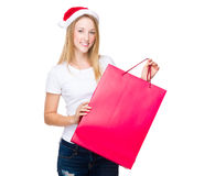 Caucasian woman with red shopping bag. Isolated over white background Royalty Free Stock Images