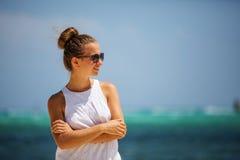Caucasian woman rests at seashore Stock Image