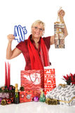 Caucasian woman, shopping bag discount Stock Photos