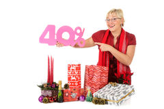 Caucasian woman, shopping discount Royalty Free Stock Image
