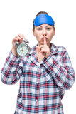 Caucasian woman shows finger gesture quietly and shows time Royalty Free Stock Photo