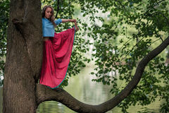 Caucasian woman standing in yoga balance Utthita Hasta Padangusthasana pose. She hold trank of tree. Unity of man with nature Stock Photos