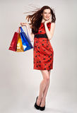 Caucasian woman in stylish dress with shopping ba Royalty Free Stock Image