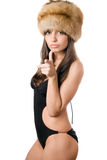Caucasian woman in swimsuit and fur-cap Royalty Free Stock Photography