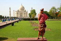 Caucasian woman at Taj Mahal Stock Photos