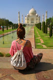 Caucasian woman at Taj Mahal Royalty Free Stock Photo