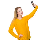 Caucasian woman take selfie Stock Photo