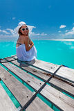Caucasian woman takes rest Royalty Free Stock Photos
