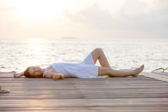 Caucasian woman takes rest Royalty Free Stock Images