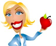 Caucasian Woman Teacher Apple Stock Photos